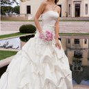 9066W Strapless satin gathered wedding dress with lace yoke.