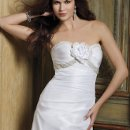 41770-8291W This strapless delicately shirred taffeta wedding dress features a beaded empire waist.