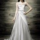 41770-D31065 This beautiful satin wedding dress has detailed beading at the top of the bodice and waistline.