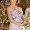 22730-6114 Metallic chiffon strapless dress with beaded ruffle empire.