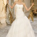 4192W Strapless shirred organza wedding dress with pearl and rhinestone beading, tiered skirt and semi-cathedral train.