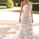 4058W All shirred satin modified trumpet hem wedding dress with sweep train.