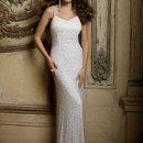 42900-8377W Fully beaded strapped wedding dress is cut on a bias to accentuate.