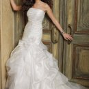 41790-8409W Strapless organza wedding dress with gathered flounce skirt, soft shirred bodice, and scattered floral appliques.