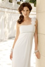6181W Chiffon over satin side drape wedding dress with flower one shoulder.