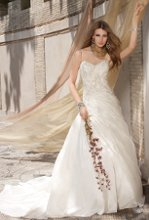 41770-8293W Taffeta wedding dress with paisley emblishment, shoulder straps, and a beaded over shirred bodice.