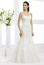 41770-VR61059 This strapless wedding dress eludes elegance with beaded lace appliques and a sweeping cathedral train.