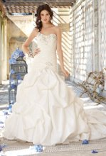 41790-8234W Rhinestone twist one shoulder taffeta wedding dress with a rouched bodice and a gathered bottom.
