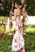 21820-A12157 Flower print charmeuse with ruffle back and rhinestone trim.