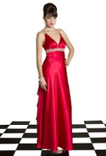 23250-50654 Charmeuse dress and chiffon ruffle back.