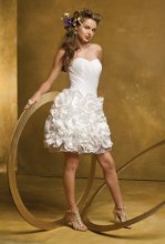 6020W Short strapless rosette twist taffeta and organza wedding dress.