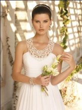 41770-6100W Chiffon grecian style gown with beaded cut out collar.