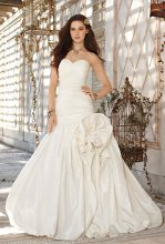 41790-8239W Strapless shirred taffeta wedding dress with sweetheart neckline and gathered bubble hem.