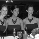 These beautiful multi-faceted black stone necklaces with matching earrings were hand selected for this bride.