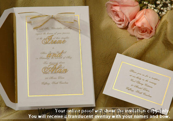 its all about the gold border and bow layered wedding invitations your names are featured - Layered Wedding Invitations