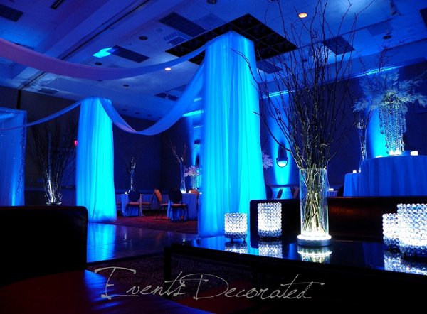 Modern Black Blue Silver White Centerpieces Dance Floor