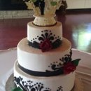 130x130 sq 1344259859766 blackandredweddingcake