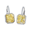 Yellow Asscher cut diamond earrings by designer, Daniel K