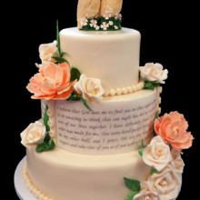 220x220 sq 1421772148717 ivory wedding vows cake with sugar owls keepsake
