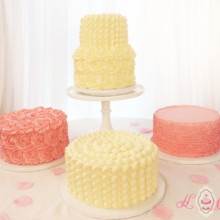 220x220 sq 1475071629614 ivory and pink wedding bakery cake display 1200