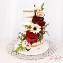 220x220 sq 1475071731010 naked cake with red and peach florals 1200