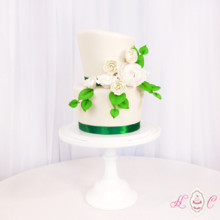 220x220 sq 1475071765015 white  green topsy turvy wedding cake 1200