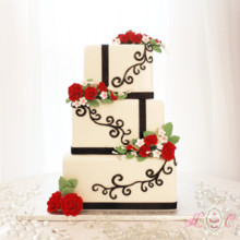 220x220 sq 1475071856056 black and white with red roses squared wedding cak