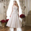 8750 Shown in Oyster/Champagne Tulle tea length ball gown emphasized with a strapless neckline. Available colors : Natural/Ivory, Oyster/Champagne