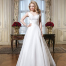 8773 Organza, silk dupion A-line dress accentuated by a tank neckline