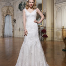 8780 Tulle and alencon lace fit and flare dress accented with a V-neck