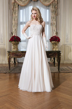 8757 Silk chiffon, venice lace, beaded lace A-line dress highlighted with a strapless neckline