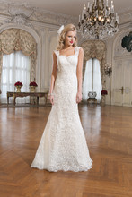 8761 Venice lace fit and flare dress featuring a sweetheart neckline