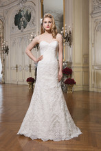 8767 Alencon lace fit and flare dress complemented by a sweetheart neckline