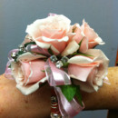 130x130 sq 1397673493175 corsage rose and ribbon pink with blin