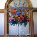 130x130 sq 1446133763788 orange roses blue delphinium hydrangea dahlias