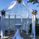 130x130 sq 1467389710108 arch with organza corals and blues