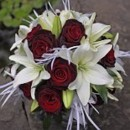 130x130 sq 1390863763022 bb0468 deep red rose and white lily bridal bouque