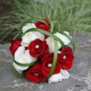 130x130 sq 1390863766116 bb0575 modern red and white rose bouquet with rhin