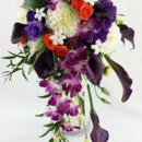 130x130 sq 1421033643840 bb0972 cascading purple and white wedding bouquet
