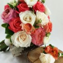 130x130 sq 1459574993557 bb0962 coral peach and ivory brides bouquet and bo