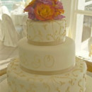 130x130 sq 1394566901833 gold and ivory cake with toppe
