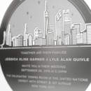 The NEW YORK CITY SKYLINE metal invitation possesses gorgeous, accurate detail that will astonish your guests. Mails flat and is folded into a sculpture by guests. Folding the invitation at the perforations will reveal two layers of depth, with the skyline in front and the moon over New York City behind. Place a tea light behind the sculpture and watch the skyline glow! Memories of a magical night in New York City will live on forever with this invitation. NEW YORK CITY SKYLINE is also available as a favor with slits into which an escort card can be inserted.