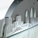 The CLEVELAND SKYLINE metal invitation possesses gorgeous, accurate detail that will astonish your guests. Mails flat and is folded into a sculpture by guests. Folding the invitation at the perforations will reveal two layers of depth, with the skyline in front and the moon over Cleveland behind. Place a tea light behind the sculpture and watch the skyline glow! Memories of a magical night in Cleveland will live on forever with this invitation. CLEVELAND SKYLINE is also available as a favor with slits into which an escort card can be inserted.