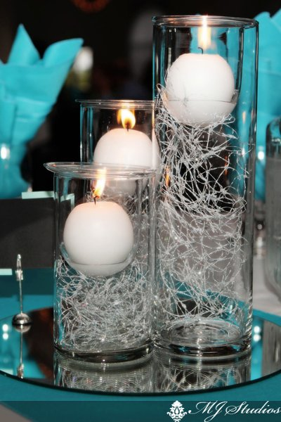 Blue Silver White Candles Centerpieces Fall Indoor