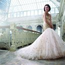 <b>Style:LZ3217</b> <br /> Gold embroidered English net over sherbet tulle bridal ball gown, sweetheart neckline, elongated bodice with circular skirt, chapel train.