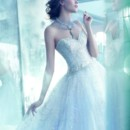 StyleLZ3320 Wisteria tulle ball bridal gown with hand embroidered silver overlay, sweetheart neckline, sheer embroidered bodice, dropped waist, full gathered skirt, sweep train.