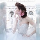 Style:LZ3269 Wisteria tulle bridal ball gown, sheer ivory lace corseted sweetheart bodice with floral embroidered overlay, crystal trim at natural waist, circular skirt with horsehair hem, chapel train