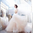 Style: LZ3250 Sherbet tulle bridal ball gown, sweetheart neckline, silk satin organza bodice with floral jewel encrusted band at natural waist, circular gathered skirt with horsehair hem, chapel train
