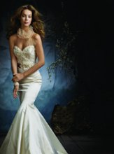 <b>Style:LZ3105</b> <br /> Ivory silk faced satin trumpet bridal gown, hand beaded and embroidered tulle bodice with silver accents, sweetheart neckline, platinum silk satin ribbon belt with hand-made flowers at natural waist, trumpet skirt, chapel train.