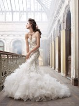 <b>Style:LZ3215</b> <br /> Ivory beaded and embroidered organza trumpet bridal gown, sweetheart neckline, tufted organza skirt, chapel train.